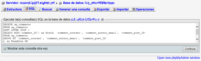 Ejecutar query MySQL