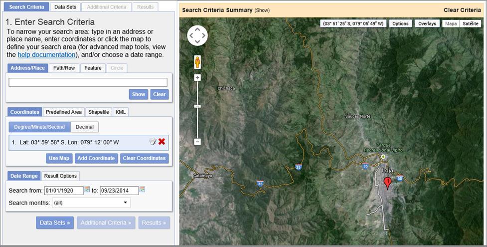 Coordinates Landsat 8