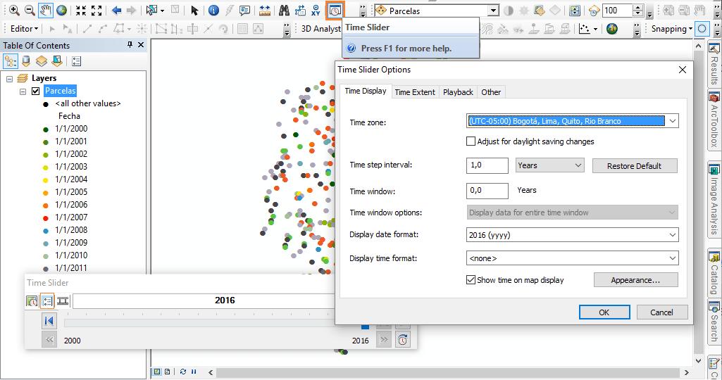 Configurar Time Slider en ArcGIS