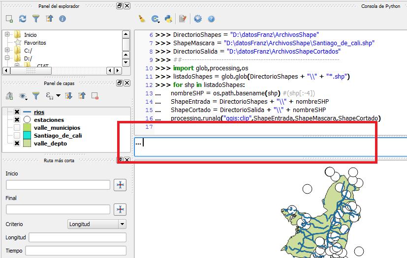 Insertar comandos Python en QGIS