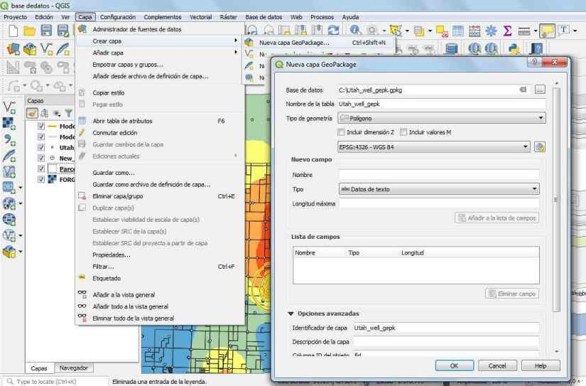 Nueva Capa Geopackage en QGIS 3