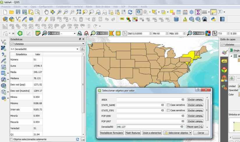 Estadísticas densidad QGIS 3