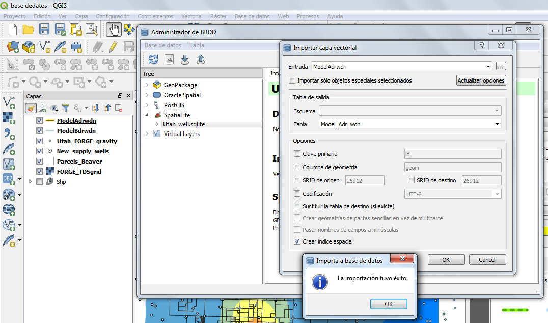 Importar sqlite en QGIS 3