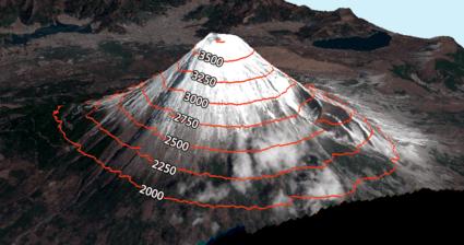 Monte Funji en 3D