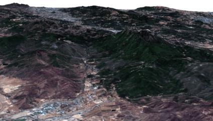 Vista en 3D Valle de Collayomi en California