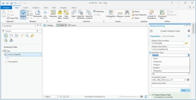 Crear un nuevo shapefile en ArcGIS Pro arctoolbox