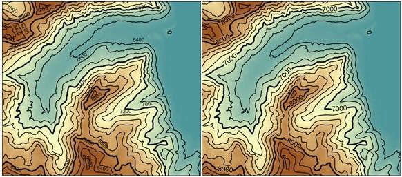 Mapa con etiquetas de isolíneas