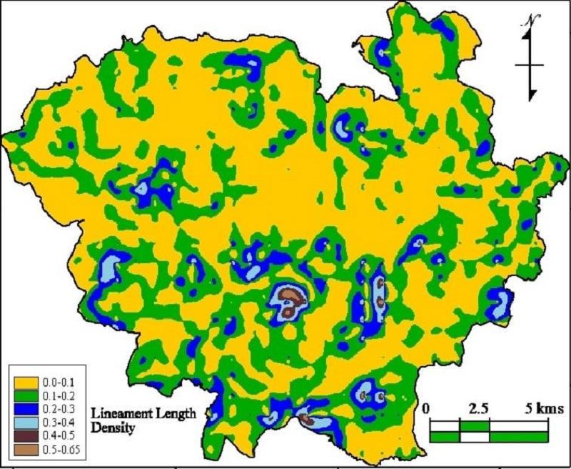 Mapa de densidad de longitud de lineamientos