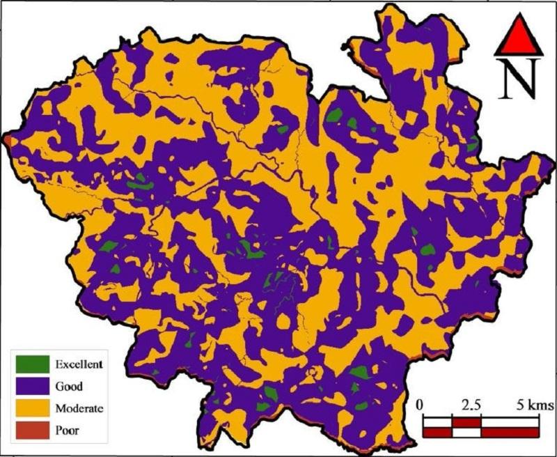 Mapa de zonas potenciales de aguas subterráneas
