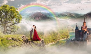 rainbow with couple