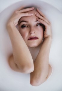 Woman anxious in bath
