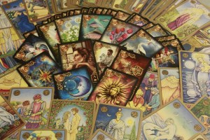 Tarot cards laid out