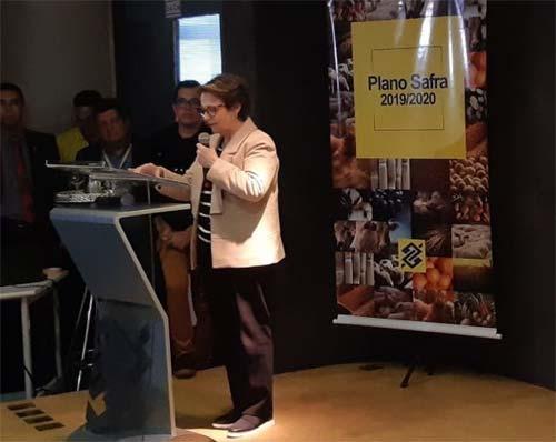 Foto da ministra no lançamento do Plano Safra
