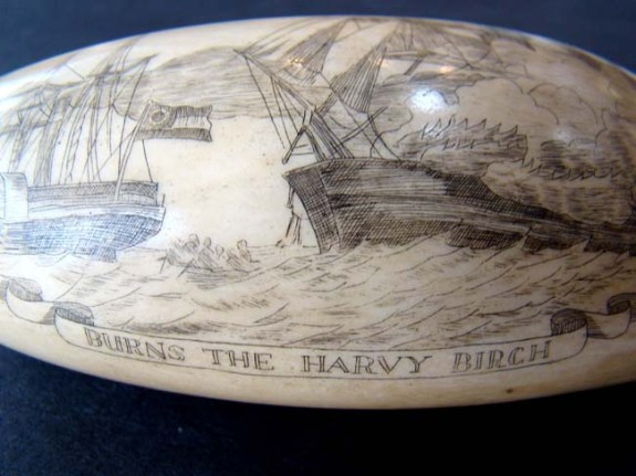 Civil War Era Scrimshawed Whale Bone