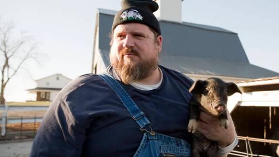 Carl Blake, who has bred a unique pig, the Swabian Hall