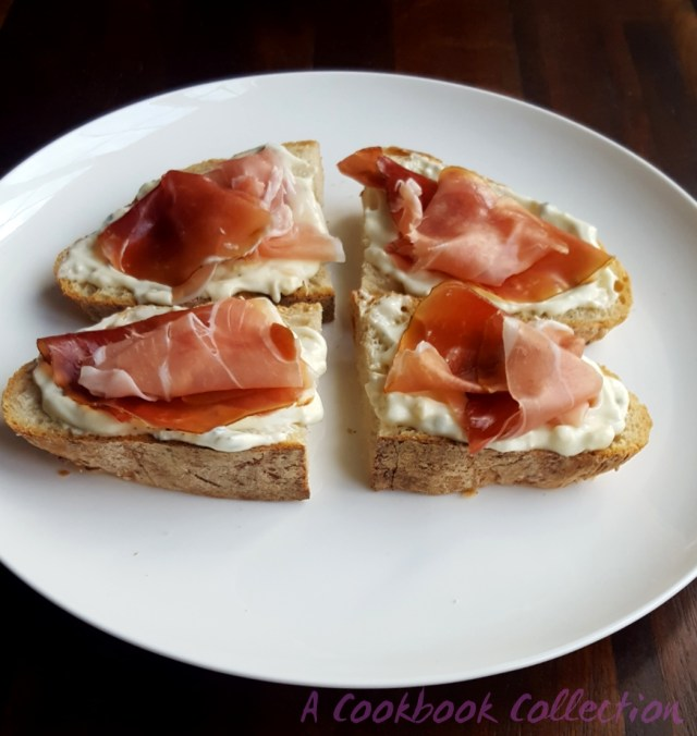 Blue Cheese and Smoked Prosciutto Toasts - A Cookbook Collection