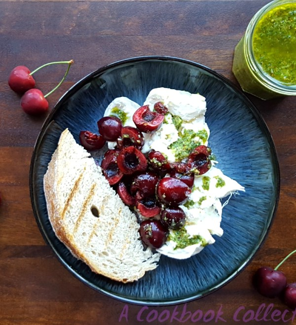 Burrata and Cherries with Pistachio Pesto - A Cookbook Collection