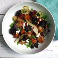 Squash Pear and Goats' Cheese Salad with Black Pudding