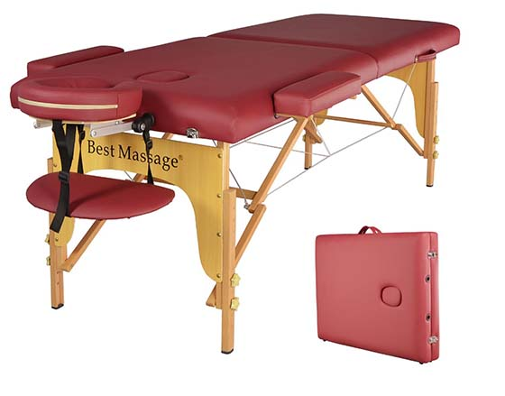 1. BestMassage Two Fold Burgundy Portable Massage Table