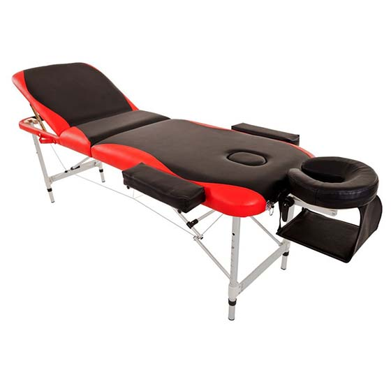 4. MeraxAluminium 3 Section Portable Massage Table Facial SPA Tattoo Bed Red and Black