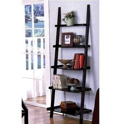 3. The Leaning Ladder Style Book and Magazine Shelf Bookcase