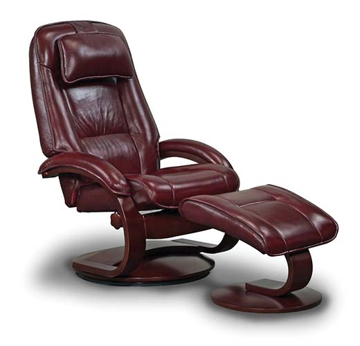 9. Mac Motion Chairs Model 2-Piece Recliner with Matching Ottoman Merlot Leather with Alpine Frame