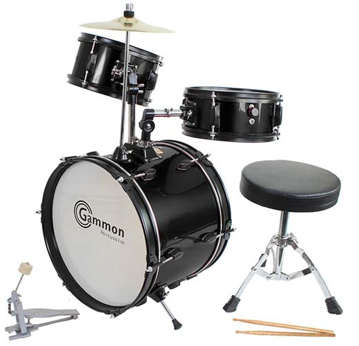5. Drum Set Black Complete Junior Kid's Children Size with Cymbal Stool Sticks - Drum sets for Kids