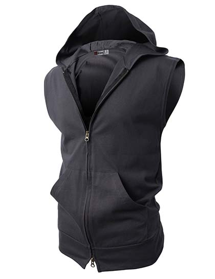 10. H2H Mens Slim Fit Lightweight Fashion Sleeveless Hoodies of Various Styles