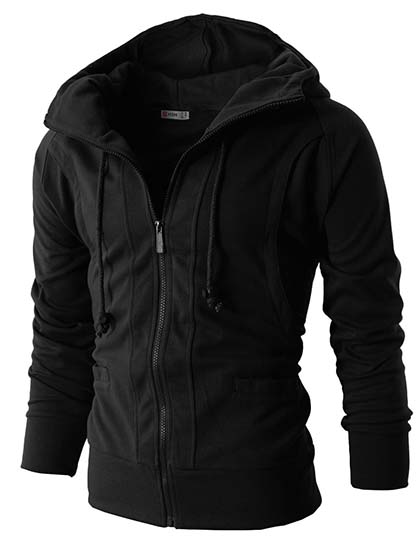 7. H2H Mens Casual Fashion Active Jersey Slim Fit Hoodie Zip-Up