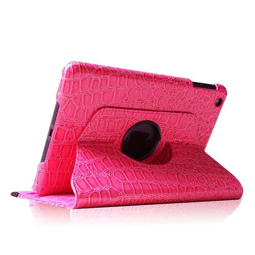 9. Fintie (Crocodile Hot Pink) 360 Degrees Rotating Stand Leather Case Cover for iPad mini 7.9 inch Tablet with Auto Wake / Sleep Feature - Multi Style Options