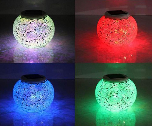 10. LVCEN Solar Powered Color Changing LED Light Mosaic Glass Lantern Waterproof Table Lamp