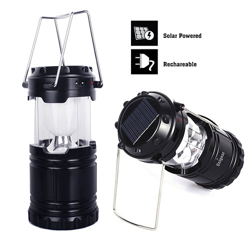 2. Solar Rechargeable Camping Lantern, unigear Collapsible Portable LED Camp Light Flashlight Lamp