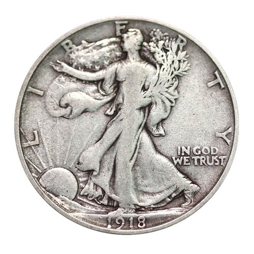 7. American Silver Walking Liberty Half Dollar