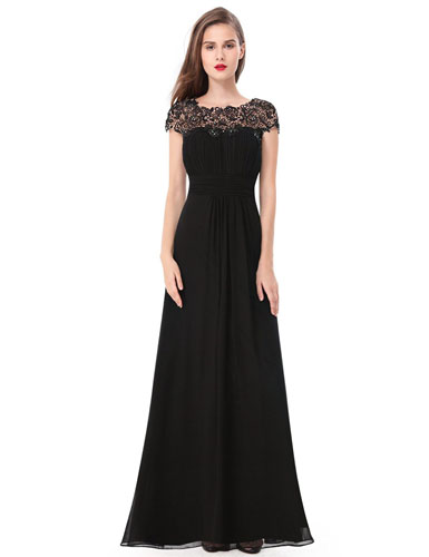 10. Ever Pretty Women's Cap Sleeve Lace Neckline Ruched Bust Evening Gown 09993