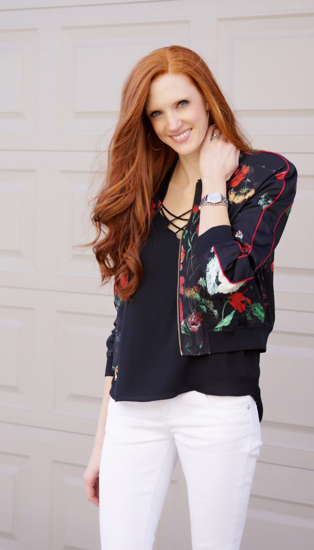 Floral Bomber Jacket Valentine's Outfit