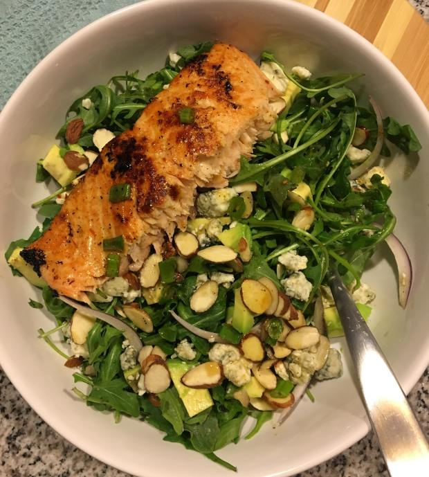 Arugula Salad with Honey Ginger Salmon