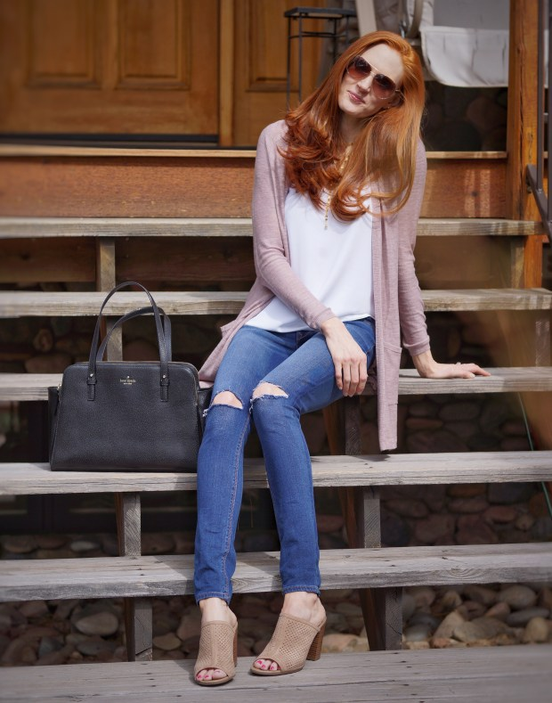 Lightweight Sweater and Peep Toe Mules