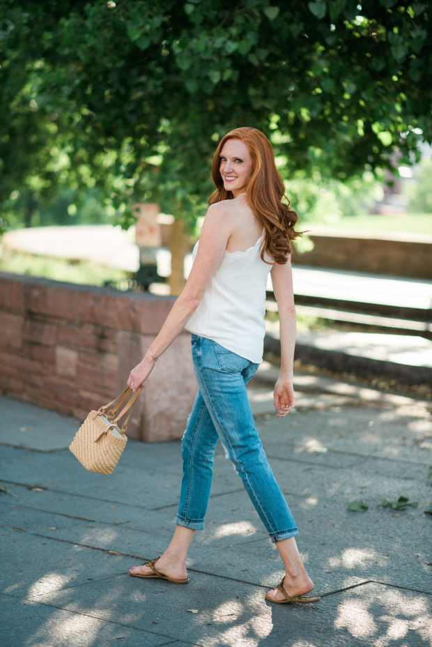 White Scalloped Tank + Boyfriend Jeans