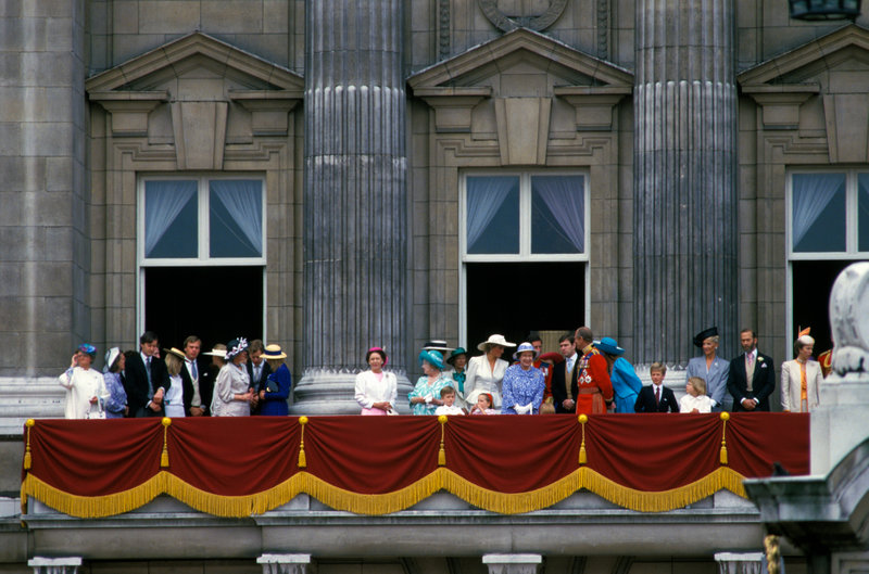 The Royal Family on the Royal Balcony of Buckingham Palace for the Trooping of the Colour, 1987, London, England, UK