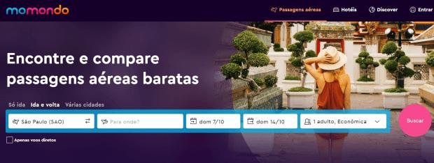 Sites de passagens aéreas - Momondo