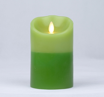 【Luminara 盧米娜拉 擬真火焰 蠟燭】 綠意盎然雙色漸層森林香氛光滑蠟燭禮盒(中)/66010 +加贈充電電池組