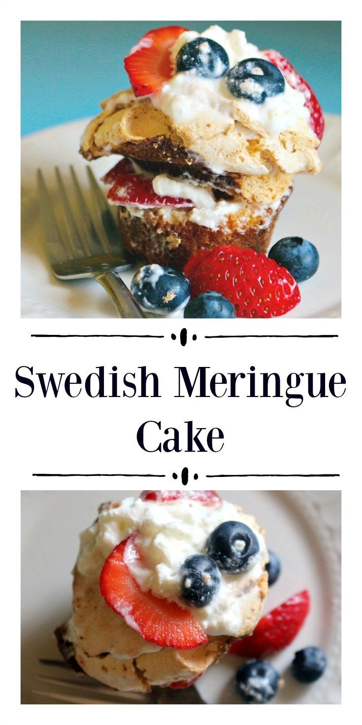 A light and airy sponge cake and meringue dessert made with fresh berries and whipped cream..