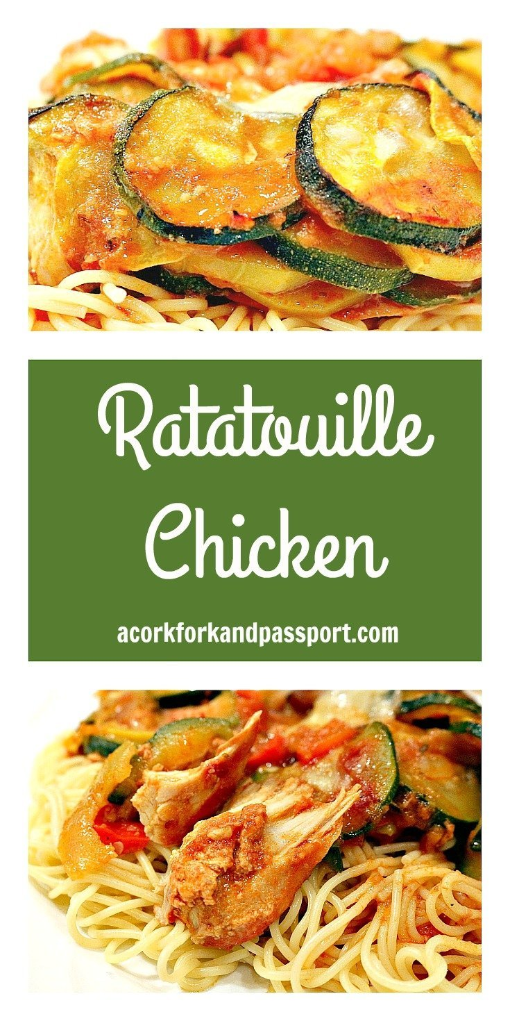 Ratatouille Chicken   A zesty and flavorful chicken dish with zucchini, summer squash, tomatoes, onions, and peppers, served on pasta.