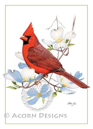 Cardinal on Dogwood Notecard