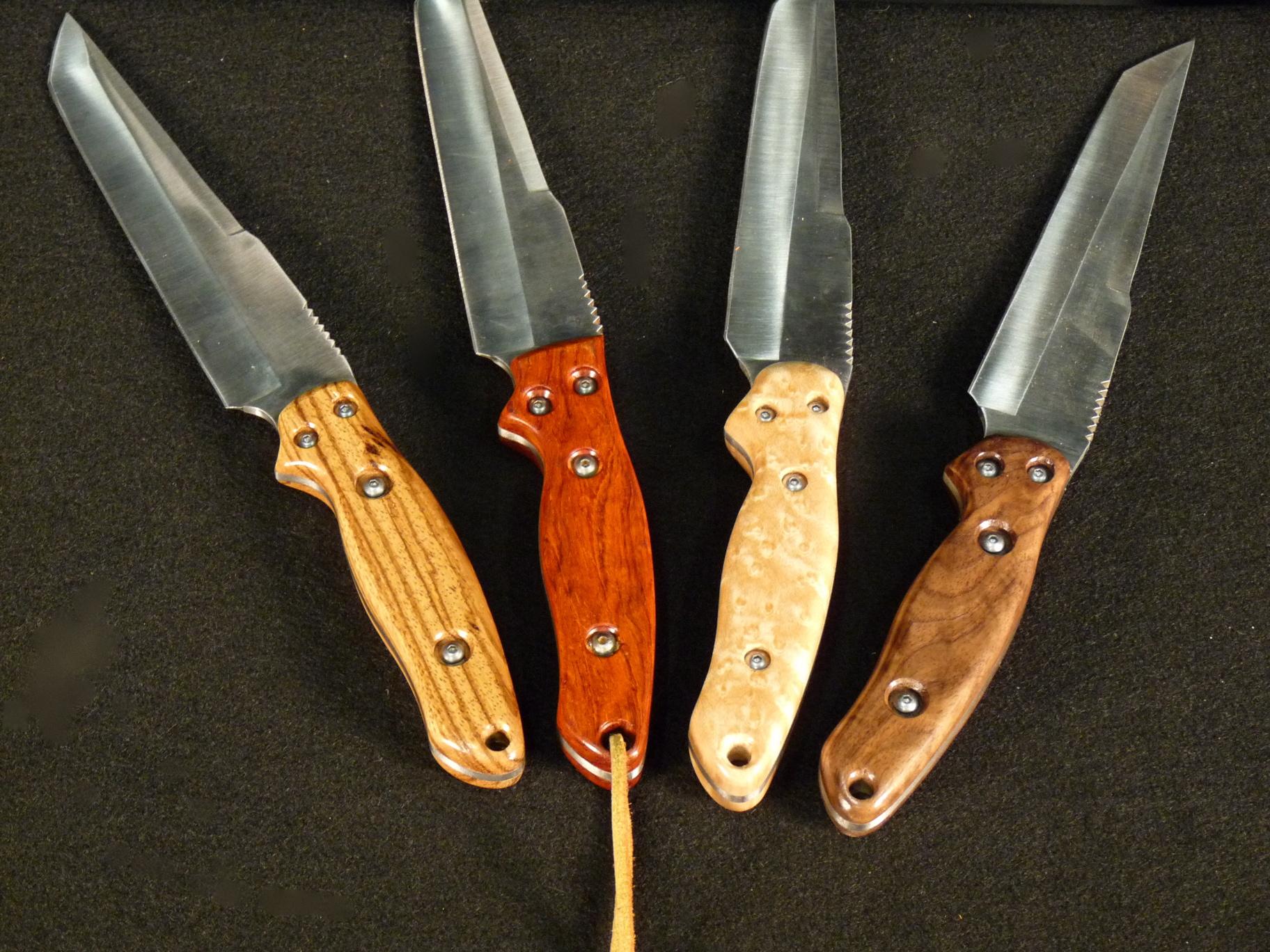 Zebrawood, Cocobolo, Birdseye Maple, Walnut knife handles