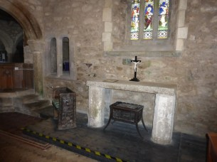 The lady chapel in the transept with the mermaid bench
