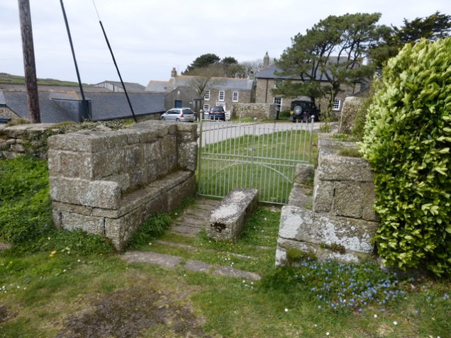 The coffin rest (with seats for weary bearers)