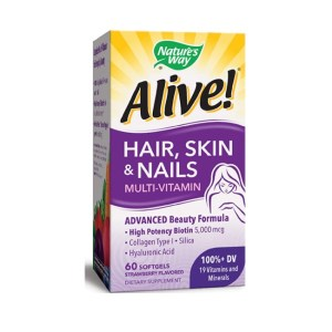 Nature's Way Alive! Hair, Skin & Nails Multi-Vitamin Softgels,60 Strawberry Flavored