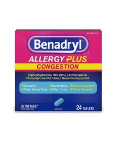 Benadryl Allergy Plus Congestion, 24 Tablets