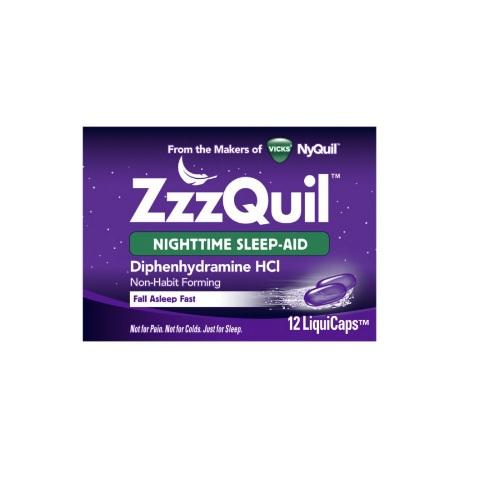 Vicks ZzzQuil Nighttime Sleep Aid LiquiCaps, 12 LiquiCaps